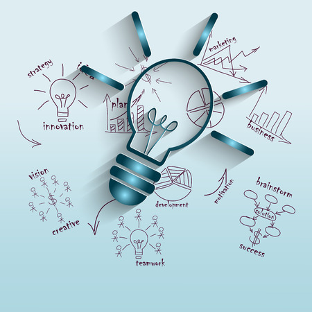 knowledge business: The idea of economic management, illustration with lamp for business