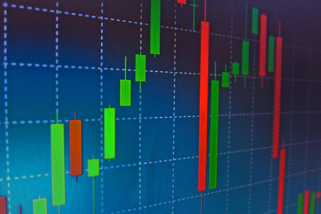 forex: Forex stock market candle graph analysis on the screen