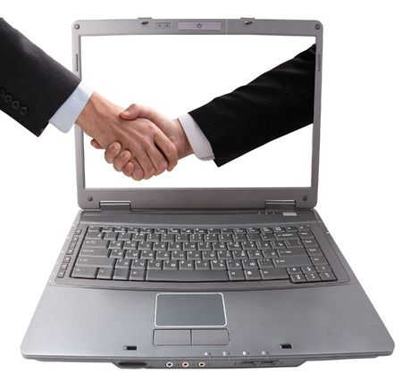 Business hand shake. Successfully spent transaction.