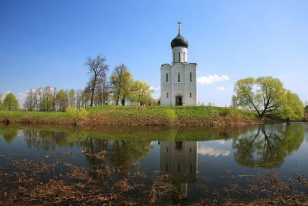 intercession: Church of Intercession upon Nerl River. (Bogolubovo, Vladimir region, Golden Ring of Russia) Inscribed in the Wold Heritage List of UNESCO