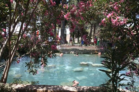 Cleopatras pool with mineral water. The world heritage of UNESCO. photo