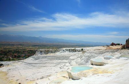 pamukkale: Travertine pools and terraces, Pamukkale, Turkey Stock Photo