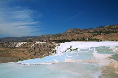hydrochloric: Travertine pools and terraces, Pamukkale, Turkey Stock Photo