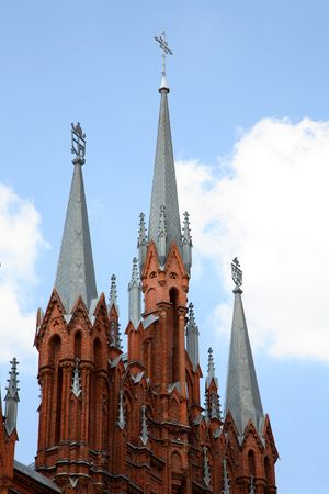 slanting: Moscow. The Catholic temple of immaculate conception of sacred maiden Maria Stock Photo