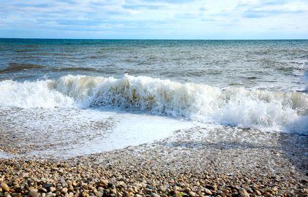 inflow: Morning on beach. Quiet sea landscape.