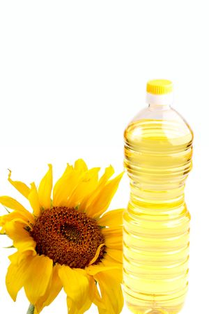 sunflowerseed: sunflower-seed oil bottle isolated on the white background
