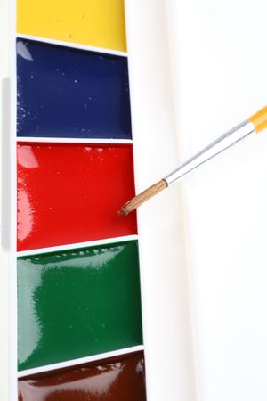 box of water-color paint with paintbrush Stock Photo - 5819396