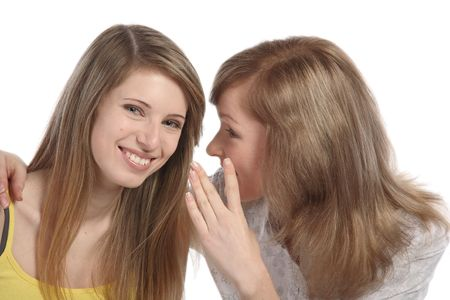 Two girlfriends talk. Close up. White background. It is isolated. Stock Photo - 5878912