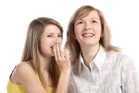 Two girlfriends talk. Close up. White background. It is isolated. Stock Photo - 5878862