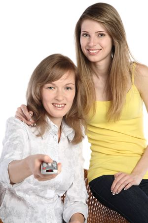 Two girls with the panel from the TV photo