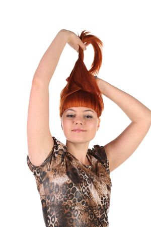 lifted: girl with the long red hair lifted upwards