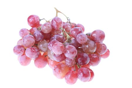 Pink grape cluster with leaves, isolated Stock Photo - 6486496