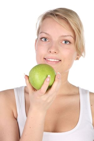 girl with green apple in hands Stock Photo - 6849652