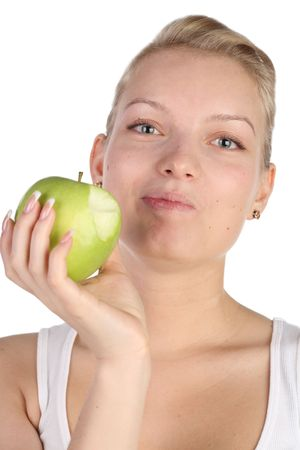 girl with green apple in hands Stock Photo - 7028211