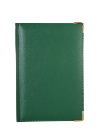 Green leather notebook on a white background photo