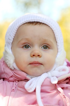 Portrait close up of the baby on walk. Stock Photo - 8094360