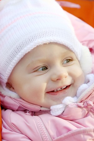 Portrait close up of the baby on walk. Stock Photo - 8094344