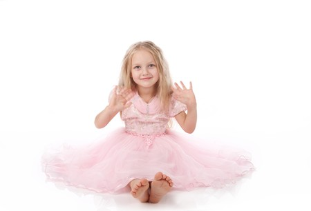 little girl in a pink elegant dress.White background Stock Photo - 8270767