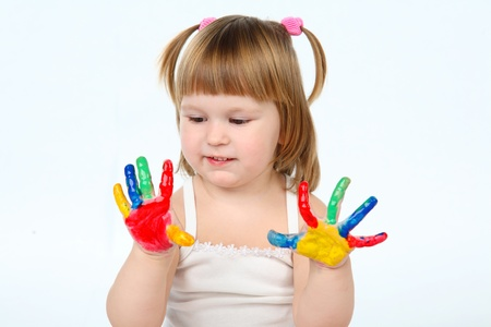 daubed: little girl be daubed plaing with colors