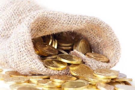 Bag filled with gold coins. Stock Photo - 8521205
