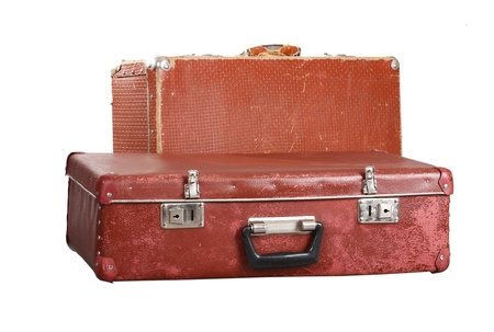 leather bag: Two old suitcases. It is isolated on a white background