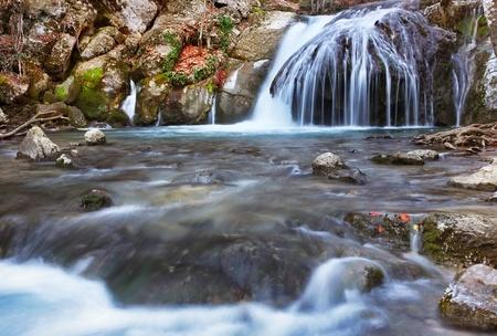 Winter waterfalls in mountains. Stock Photo - 8737106