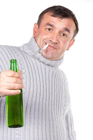 alcoholic. isolated, on a white background photo