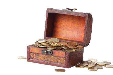 wooden chest filled with gold coins Stock Photo - 9053290
