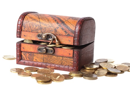 wooden chest filled with gold coins Stock Photo - 9053352