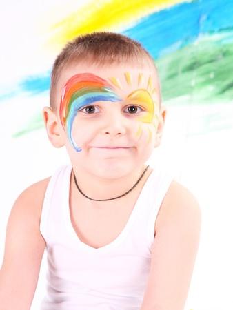 bedaubed: boy bedaubed with bright colors