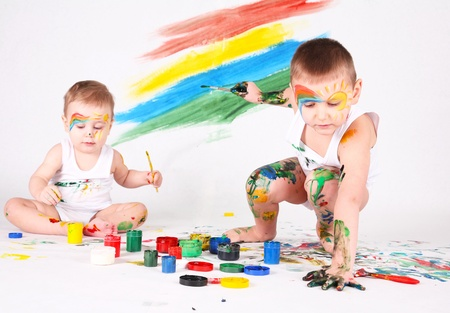 bedaubed: boys bedaubed with bright colors Stock Photo