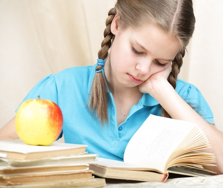one teenage girl only: tired ten years schoolgirl learns lessons