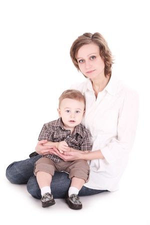 15 18: Mum with the small son on hands. It is isolated, a white background
