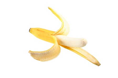 cleared: One ripe cleared banana on a white background