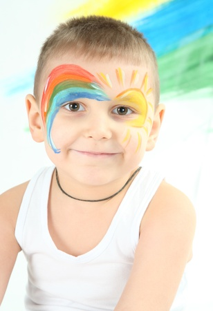 bedaubed: boy bedaubed with bright colors