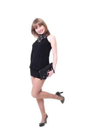 vestido corto: ni�a encantadora en un vestido corto negro