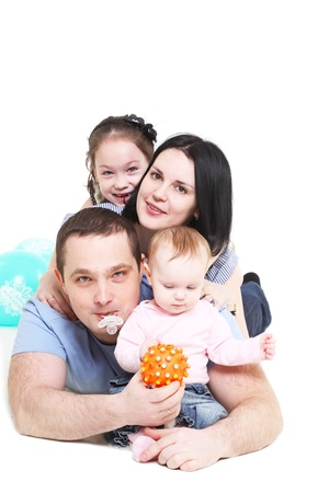Happy family with two children Stock Photo - 9791464