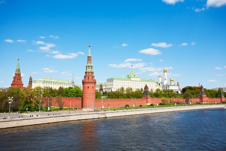 Kind to the Moscow Kremlin, Grand Kremlin Palace, Cathedrals and quay Moskva River Stock Photo - 9918945