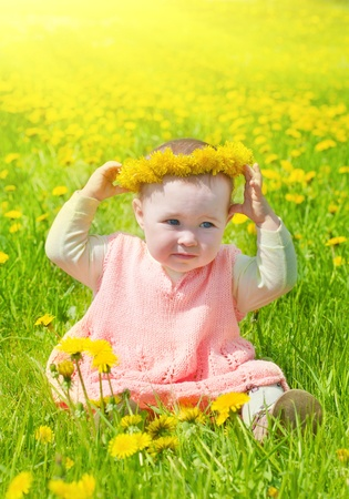little girl walks on a glade with dandelions photo