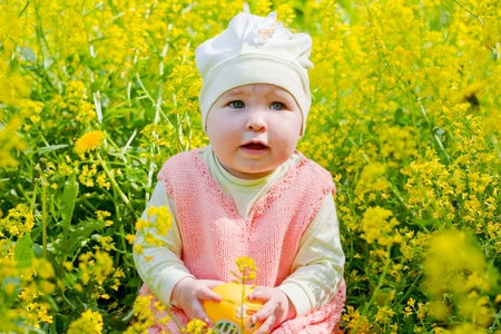 little girl walks on a glade with dandelions Stock Photo - 9918124