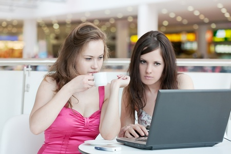 Two girls work on a laptop, sitting in cafe in shopping center Stock Photo - 9918033