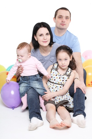 Happy family with two children Stock Photo - 9919284
