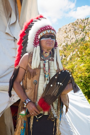 North American Indian in full dress. Reconstruction Stock Photo - 10269271
