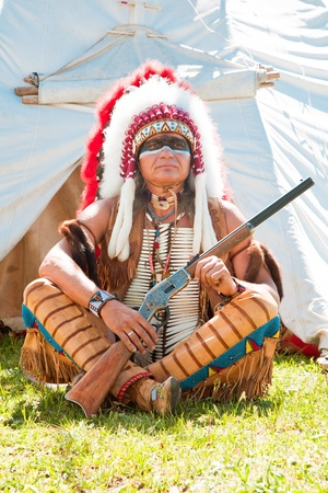 North American Indian in full dress. Reconstruction Stock Photo - 10269306