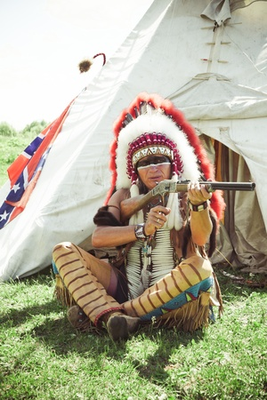 North American Indian in full dress. Reconstruction Stock Photo - 10269281
