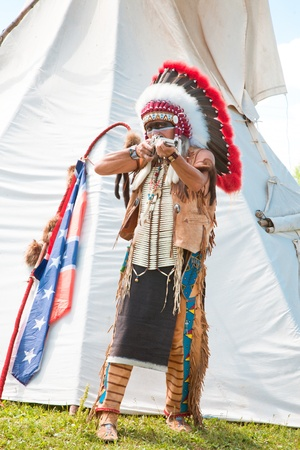 North American Indian in full dress. Reconstruction Stock Photo - 10269241