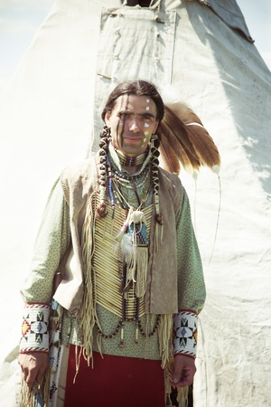 North American Indian in full dress. Reconstruction Stock Photo - 10269242