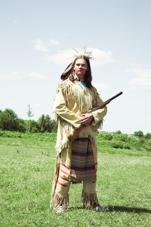 traditional weapon: North American Indian in full dress. Reconstruction