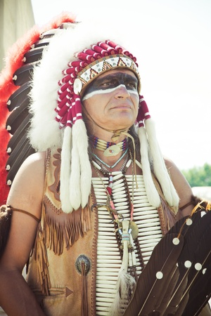 North American Indian in full dress. Reconstruction Stock Photo - 10292807