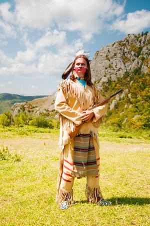 indio americano: Los indios norteamericanos con uniforme de gala. Reconstrucción